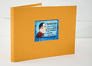 Hand sewn artist book, pearl stitch, hard cover, 28 pages, edition of 10, 2020, Front Cover