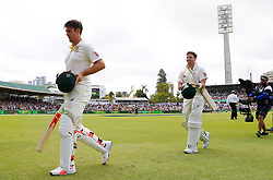 Australia's Mitchell Marsh walks off at tea with Steve Smith during day three of the Ashes Test match at the WACA Ground, Perth.