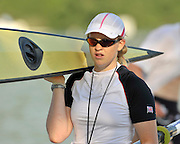 Banyoles, SPAIN, GBR W2-, Jacqueline ROUND, carrying the pair FISA World Cup Rd 1. Lake Banyoles  Saturday,  30/05/2009   [Mandatory Credit. Peter Spurrier/Intersport Images]