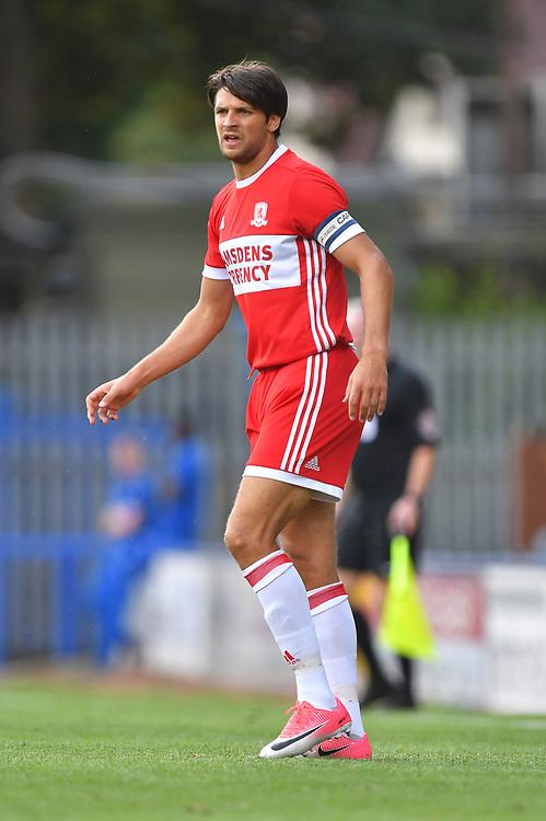 Middlesbrough's George Friend<br /> <br /> Photographer Dave Howarth/CameraSport<br /> <br /> Football - Pre-Season Friendly - Rochdale v Middlesbrough - Saturday 22nd July 2017 - Crown Oil Arena - Rochdale<br /> <br /> World Copyright © 2017 CameraSport. All rights reserved. 43 Linden Ave. Countesthorpe. Leicester. England. LE8 5PG - Tel: +44 (0) 116 277 4147 - admin@camerasport.com - www.camerasport.com