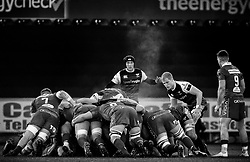 Aled Davies of Ospreys at the scrum<br /> <br /> Photographer Simon King/Replay Images<br /> <br /> Guinness PRO14 Round 11 - Ospreys v Scarlets - Saturday 22nd December 2018 - Liberty Stadium - Swansea<br /> <br /> World Copyright © Replay Images . All rights reserved. info@replayimages.co.uk - http://replayimages.co.uk