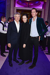 Left to right, JOHN FRIEDA, EDIE CAMPBELL and OTIS FERRY at a party to celebrate 25 years of John Frieda held at Claridge's, Brook Street, London on 29th October 2013.