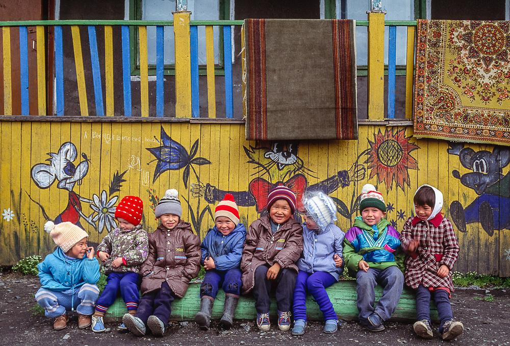 School children, Village of Uelen, Chukotsk Peninsula, Northeast Russia, 1992