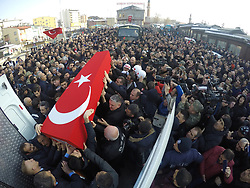 February 6, 2018 - Erzurum, Turkey - Relatives and thousands of people attend funeral prayers for Ahmet Aktepe, a Turkish soldier who was killed in cross-border clashes with Kurdish Popular Protection Units (YPG) forces on 4 February at Syria, in Erzurum, Turkey, 6 February 2018. (Credit Image: © Onur Sagsoz/Depo Photos via ZUMA Wire)