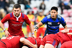 Kaito Shigeno of Japan watches the scrum<br /> <br /> Photographer Craig Thomas<br /> <br /> Japan v Russia<br /> <br /> World Copyright ©  2018 Replay images. All rights reserved. 15 Foundry Road, Risca, Newport, NP11 6AL - Tel: +44 (0) 7557115724 - craig@replayimages.co.uk - www.replayimages.co.uk