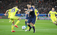 Paris Saint-Germain Zlatan Ibrahimović (vice captain) on the ball during the Champions League match between Paris Saint-Germain and Chelsea at Parc des Princes, Paris, France on 17 February 2015. Photo by Phil Duncan.