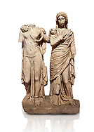 Roman statue of two women; Marble. Perge. 2nd century AD. Inv 3271. Antalya Archaeology Museum; Turkey. Against a white background. .<br /> <br /> If you prefer to buy from our ALAMY STOCK LIBRARY page at https://www.alamy.com/portfolio/paul-williams-funkystock/greco-roman-sculptures.html . Type -    Antalya     - into LOWER SEARCH WITHIN GALLERY box - Refine search by adding a subject, place, background colour, museum etc.<br /> <br /> Visit our ROMAN WORLD PHOTO COLLECTIONS for more photos to download or buy as wall art prints https://funkystock.photoshelter.com/gallery-collection/The-Romans-Art-Artefacts-Antiquities-Historic-Sites-Pictures-Images/C0000r2uLJJo9_s0