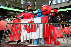 March 9, 2019 - Vancouver, BC, U.S. - VANCOUVER, BC - MARCH 09:  Canadian fans cheer on team Canada during day 1 of the 2019 Canada Sevens Rugby Tournament on March 9, 2019 at BC Place in Vancouver, British Columbia, Canada. (Photo by Devin Manky/Icon Sportswire) (Credit Image: © Devin Manky/Icon SMI via ZUMA Press)
