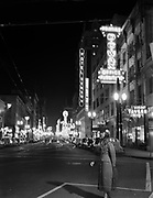 9969-530409-05. Night view of SW Broadway looking south from Burnside. April 9, 1953