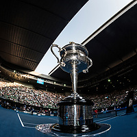 The Daphne Akhurt Memorial Cup ahead of the women's singles championship match during the 2018 Australian Open on day 13 in Melbourne, Australia on Saturday afternoon January 27, 2018.<br /> (Ben Solomon/Tennis Australia)