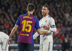 February 6, 2019 - Barcelona, BARCELONA, Spain - Sergio Ramos of Real Madrid and Lenglet of Barcelona in action during Spanish King championship, football match between Barcelona and Real Madrid, February 06th, in Camp Nou Stadium in Barcelona, Spain. (Credit Image: © AFP7 via ZUMA Wire)