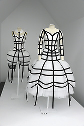 The Garments at the Press Preview of Rei Kawakubo/Comme des Garcons: Art of the In-Between exhibit at The Costume Institute at the Metropolitan Museum of Art on May 1, 2017 in New York, New York, USA.  *** Please Use Credit from Credit Field ***