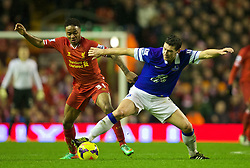 28.01.2014, Anfield, Liverpool, ENG, Premier League, FC Liverpool vs FC Everton, 23. Runde, im Bild Liverpool's Raheem Sterling, action against Everton // during the English Premier League 23th round match between Liverpool FC and Everton FC at Anfield in Liverpool, Great Britain on 2014/01/29. EXPA Pictures © 2014, PhotoCredit: EXPA/ Propagandaphoto/ David Rawcliffe<br /> <br /> *****ATTENTION - OUT of ENG, GBR*****