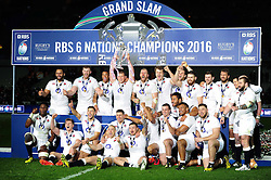England celebrate as Dylan Hartley lifts the Six Nations trophy - Mandatory byline: Patrick Khachfe/JMP - 07966 386802 - 19/03/2016 - RUGBY UNION - Stade de France - Paris, France - France v England - RBS Six Nations.