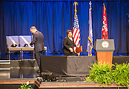Attorney General, Loretta Lynch speaking at a memorial for law enforment officers slayed in Baton Rouge by a lone gunman following the killing of Alton Sterling.