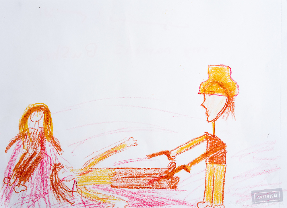 """""""One of them I will never forget is a girl from al Fateh school, who turned her drawing of a man killing someone into a big heart from very little pieces of the first painting, when I asked the students to transform the drawing of their negative emotions drawing into something else by using their hands, scissors, glue and more paint. """" - Ezgi"""