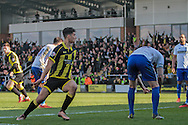 Burton substitute No.18 Tyler Walker wheels away immediately after scoring the equalizer in the the Sky Bet League 1 match between Burton Albion and Bury at the Pirelli Stadium, Burton upon Trent, England on 2 April 2016. Photo by Nigel Cole.