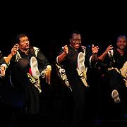 Ladysmith Black Mambazo members Msizi Shabalala (L), Russel Methembu, Abednego Mazibuko, and Sibongiseni Shabalala performing at The Music Hall, Portsmouth, NH