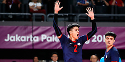 JAKARTA, Sept. 1, 2018  Liu Hongjie (L) of  Chinese Taipei celebrates after scoring during Volleyball Men's Bronze Medal Match against Qatar at the Asian Games 2018 in Jakarta, Indonesia on Sept. 1, 2018. (Credit Image: © Wang Lili/Xinhua via ZUMA Wire)