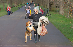 © Licensed to London News Pictures 05/02/2021.        Greenwich, UK. An English Bulldog jumping for his ball. People get out of their homes from a third national Coronavirus lockdown to enjoy the sunny Friday weather with some permitted exercise in Greenwich Park, London. Photo credit:Grant Falvey/LNP