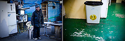 LEFT: Kazuki, 65, stands in front of his shack  built in a park in Kamagasaki, Japan. <br /> <br /> RIGHT: A trash can is seen at a laundry mat in Kamagasaki, Japan.