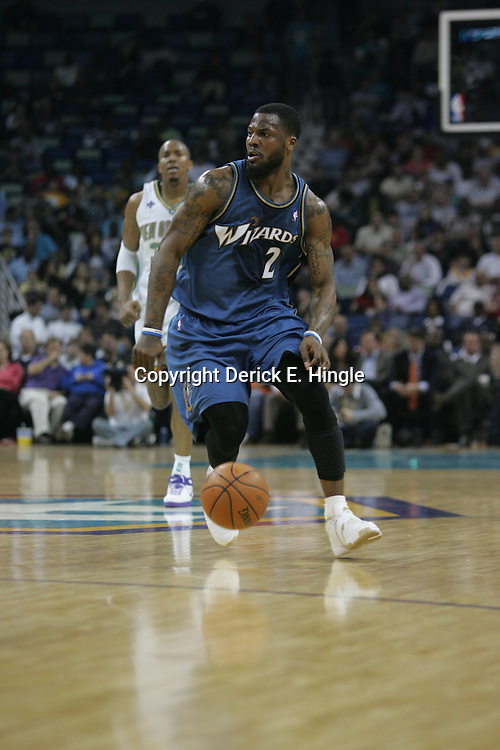 DeShawn Stevenson #2 dribbles down court against the New Orleans Hornets on February 25, 2008 at the New Orleans Arena in New Orleans, Louisiana. The New Orleans Hornets lost 95-92 to the Washington Wizards.