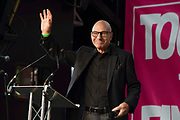 Actor Sir Patrick Stewart addresses the crowd gathered in Parliament Square as over one million protesters take part in a march by the People's Vote Campaign in central London on 19th October 2019, calling for a final say in a second referendum on Brexit. MPs hold a rare Saturday sitting to debate Prime Minister Boris Johnson's new Brexit deal.