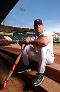Former Texas Rangers player Pete Incaviglia, who set the team's rookie home run record, is now a minor league hitting coach for the Detroit Tigers.  Incaviglia was photographed at the Tiger's Spring Training site in Lakeland, Florida.