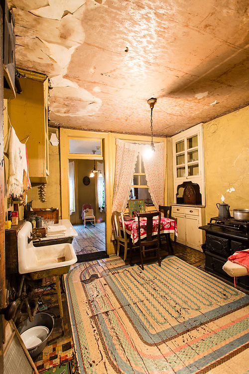The kitchen of the apartment of the Baldizzi family in The Tenement Museum.