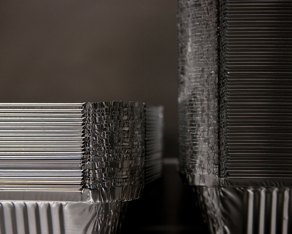 Close-up image of Stacked Aluminium in an Indian Restaurent