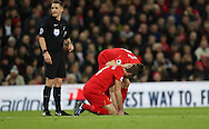 Jordan Henderson of Liverpool is injured during the English Premier League match at Anfield Stadium, Liverpool. Picture date: December 31st, 2016. Photo credit should read: Lynne Cameron/Sportimage