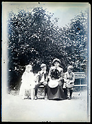 fading mother with children outdoors group portrait circa 1920s France