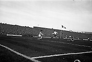 13/10/1963<br /> 10/13/1963<br /> Ireland v Austria, European Championship match at Dalymount Park, Dublin. Ireland won the game 3-2. Austria's Walter Koleznik beats Irish keeper Alan Kelly for Austria's first goal Also visible is Ireland's Tommy Traynor.