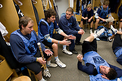14 April 2008: North Carolina Tar Heels men's lacrosse (sitting L to R) attackman Kevin Federico (3), midfielder Sean Burke (42), goalkeeper Chris Madalon (11) and (sitting) defenseman Sean Jackson (33) during a practice day in Chapel Hill, NC.