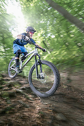 Mountain biker riding down hill on forest path, Bavaria, Germany