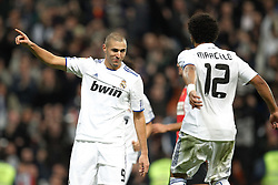 10.11.2010, Estadio Santiago Bernabeu, Madrid, ESP, Spanish Kings Cup, Real Madrid vs Real Murcia, im Bild Real Madrid's Karim Benzema scores from penalty during Spanish King's Cup match. EXPA Pictures © 2010, PhotoCredit: EXPA/ Alterphotos/ Cesar Cebolla +++++ ATTENTION - OUT OF SPAIN / ESP +++++
