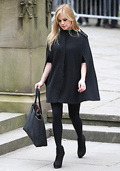 © Licensed to London News Pictures . 18/03/2016 . Manchester , UK . Tina O'Brien arrives at the service. Television stars and members of the public attend the funeral of Coronation Street creator Tony Warren at Manchester Cathedral . Photo credit : Joel Goodman/LNP