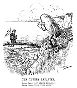 """The Tuber's Repartee. German Pirate. """"Gott strafe England!"""" British Potato. """"Tuber uber alles!"""" (a British potato makes fun of a German u-boat commander at the cliffs of Dover during WW1)"""