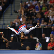 Simone Biles, Spring, Texas, in action during the Floor Routine while winning the All-Round title during the Senior Women Competition at The 2013 P&G Gymnastics Championships, USA Gymnastics' National Championships at the XL, Centre, Hartford, Connecticut, USA. 17th August 2013. Photo Tim Clayton