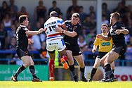Rochdale Hornets prop Jovili Taira (15) breaks all the tackles to score a try on the stroke of half time during the Kingstone Press Championship match between Rochdale Hornets and Bradford Bulls at Spotland, Rochdale, England on 18 June 2017. Photo by Simon Davies.