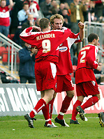Photo: Chris Ratcliffe.<br />Leyton Orient v Boston United. Coca Cola League 2. 08/04/2006.<br />Paul Connor of Leyton Orient celebrates scoring Leyton Orient's second goal with Gary Alexander