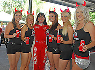 Red Devil Energy Drink Promo Girls with Coral Taylor .Media Day/Shakedown.Red Devil Energy Drink Rally of Queensland.Nambour Showgrounds, Nambour, Sunshine Coast, Qld.8th of May 2009.(C) Joel Strickland Photographics.Use information: This image is intended for Editorial use only (e.g. news or commentary, print or electronic). Any commercial or promotional use requires additional clearance.