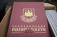 an Official 'Farewell Boleyn' match programme on sale outside Boleyn Ground before k/o. scenes around the Boleyn Ground, Upton Park in East London as West Ham United play their last ever game at the famous ground before their move to the Olympic Stadium next season. Barclays Premier league match, West Ham Utd v Man Utd at the Boleyn Ground in London on Tuesday 10th May 2016.<br /> pic by John Patrick Fletcher, Andrew Orchard sports photography.