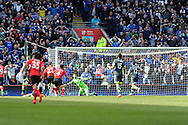 Cardiff city's Juan Cala (27) 'scores' a goal but it is disallowed. Barclays Premier league match, Cardiff city  v Stoke city at the Cardiff city stadium in Cardiff, South Wales on Saturday 19th April 2014. pic by Andrew Orchard, Andrew Orchard sports photography,