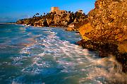 MEXICO, MAYAN, YUCATAN Tulum; 'El Castillo' and Caribbean