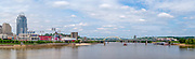 View of the Cincinnati Riverfront and Great American Ballpark from the Roebling Bridge over the Ohio River; Cincinnati, Ohio & Covington, Kentucky.
