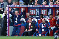 Louis van Gaal, the Manchester United Manager, Ryan Giggs, the Manchester United Coach react after Yohan Cabaye of Crystal Palace fouls Daley Blind of Manchester United. Barclays Premier League match, Crystal Palace v Manchester Utd at Selhurst Park in London on Saturday 31st October 2015.<br /> pic by John Patrick Fletcher, Andrew Orchard sports photography.