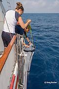 Viridiana Jimenez-Moratalla Pelhate, principal investigator for CSR research cruise of Tethys Research Institute holds a plankton sampling net while program director Sabina Airoldi checks the data recorder; Pelagos Sanctuary, Ligurian Sea, Italy ( Mediterranean Sea )