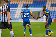 GOAL 1-0. Scott High of Shrewsbury Town scores and celebrates the first goal of the game during the EFL Trophy match between Shrewsbury Town and U21 Newcastle United at Greenhous Meadow, Shrewsbury, England on 22 September 2020.