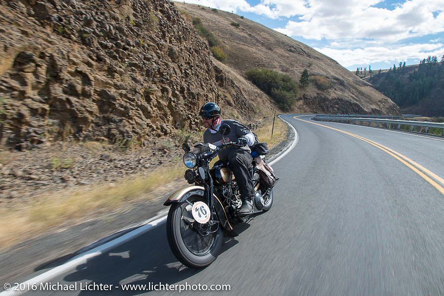 """Robert Gustavsson or """"Big Swede"""" as he is fondly known, riding his 1931 Harley-Davidson VL during Stage 14 - (284 miles) of the Motorcycle Cannonball Cross-Country Endurance Run, which on this day ran from Meridian to Lewiston, Idaho, USA. Friday, September 19, 2014.  Photography ©2014 Michael Lichter."""